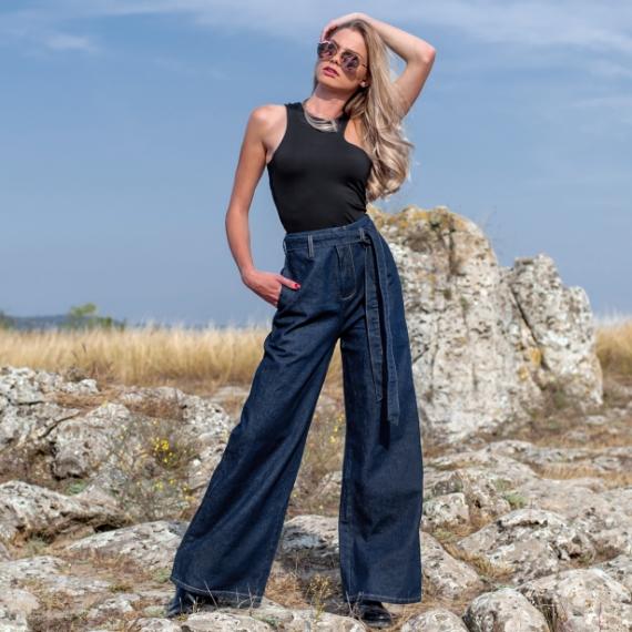 Дънки тип пола-панталон с висока талия - ЛИМИТИРАНА СЕРИЯ