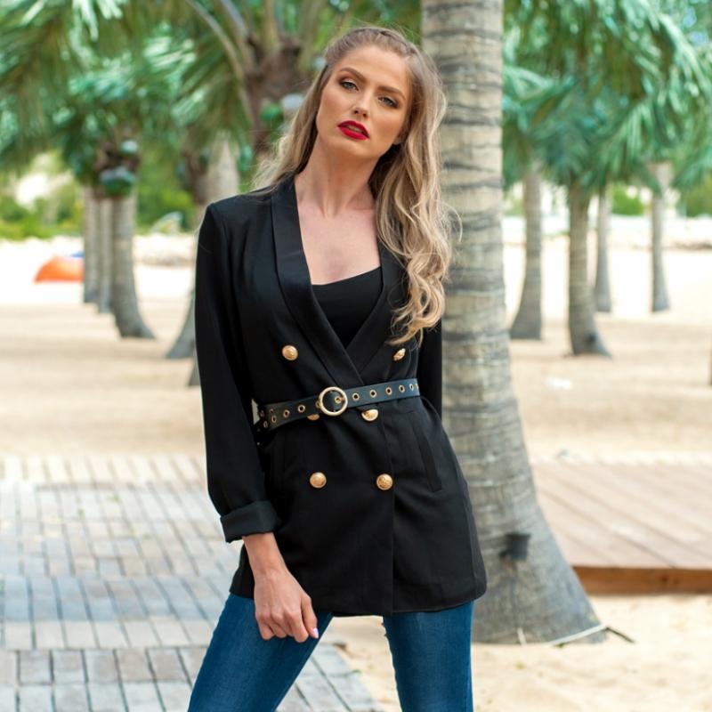 Черно сако с кожен колан