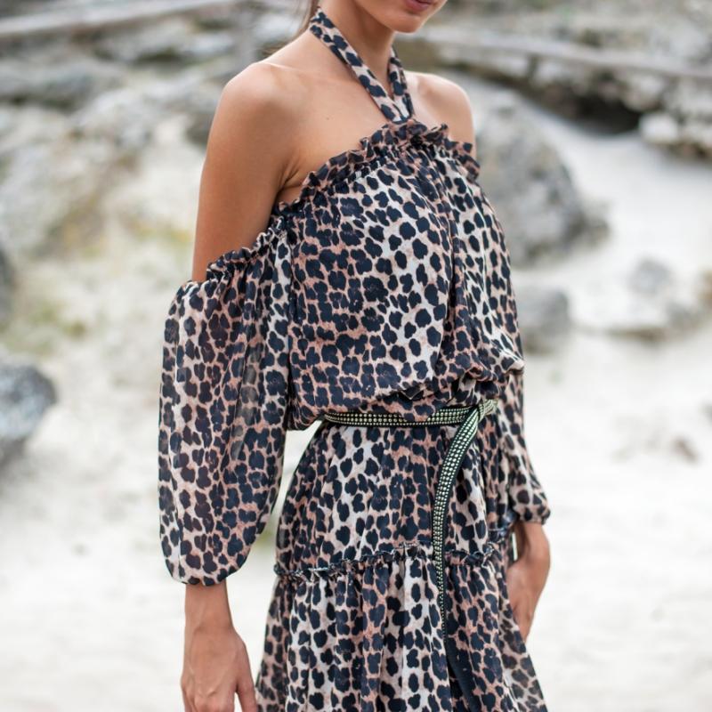 Рокля Leopard с къдри
