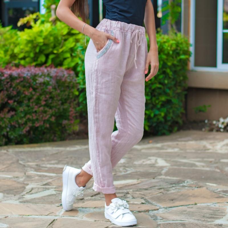 Ленен панталон PURO LINO в розово
