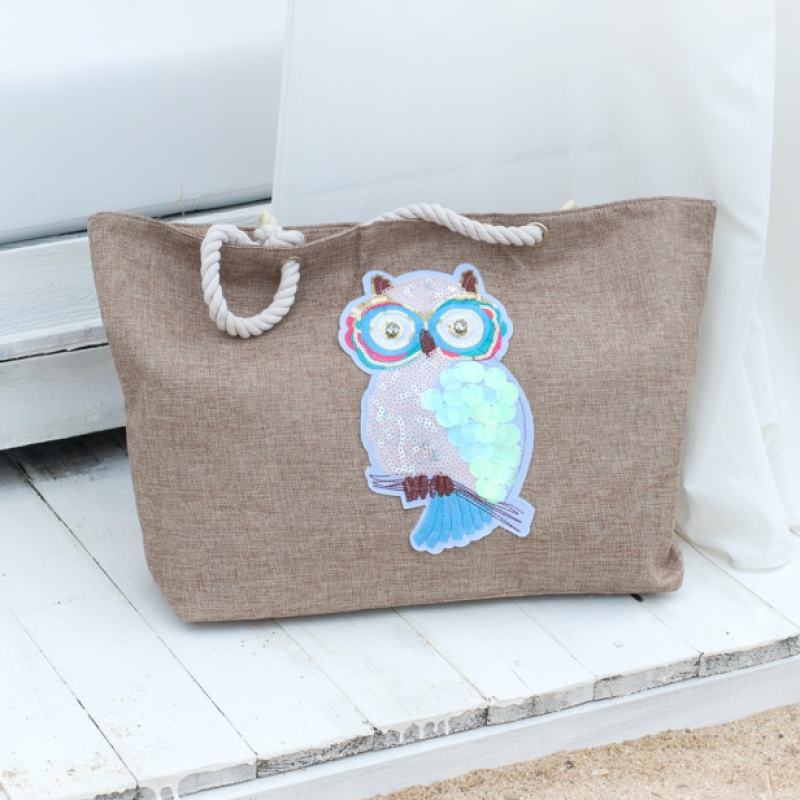 Плажна чанта с декорация бухал - цвят капучино