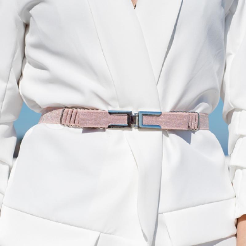 Ластичен колан с панделка - Pink