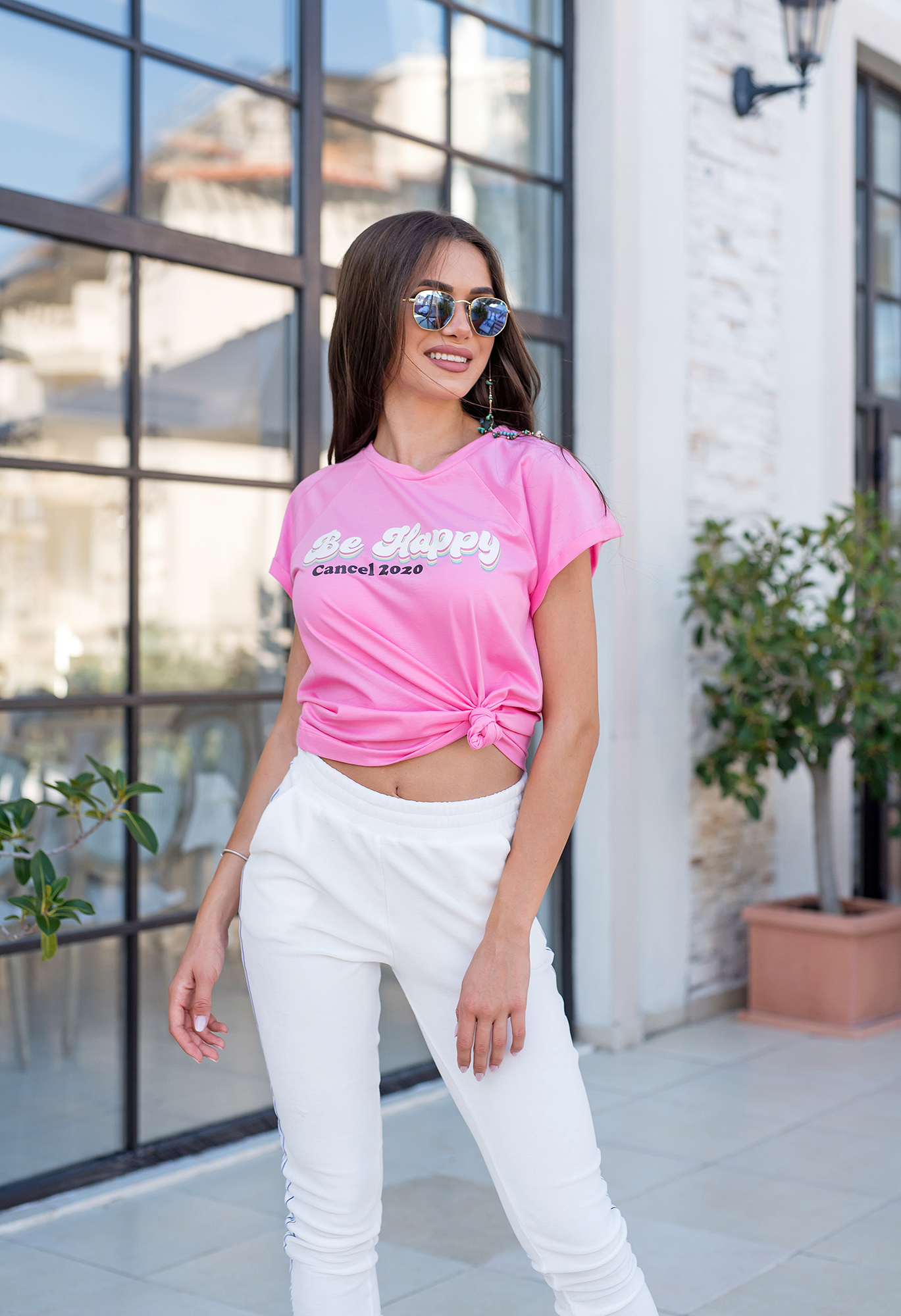 Тениска розова BE HAPPY, CANCEL 2020