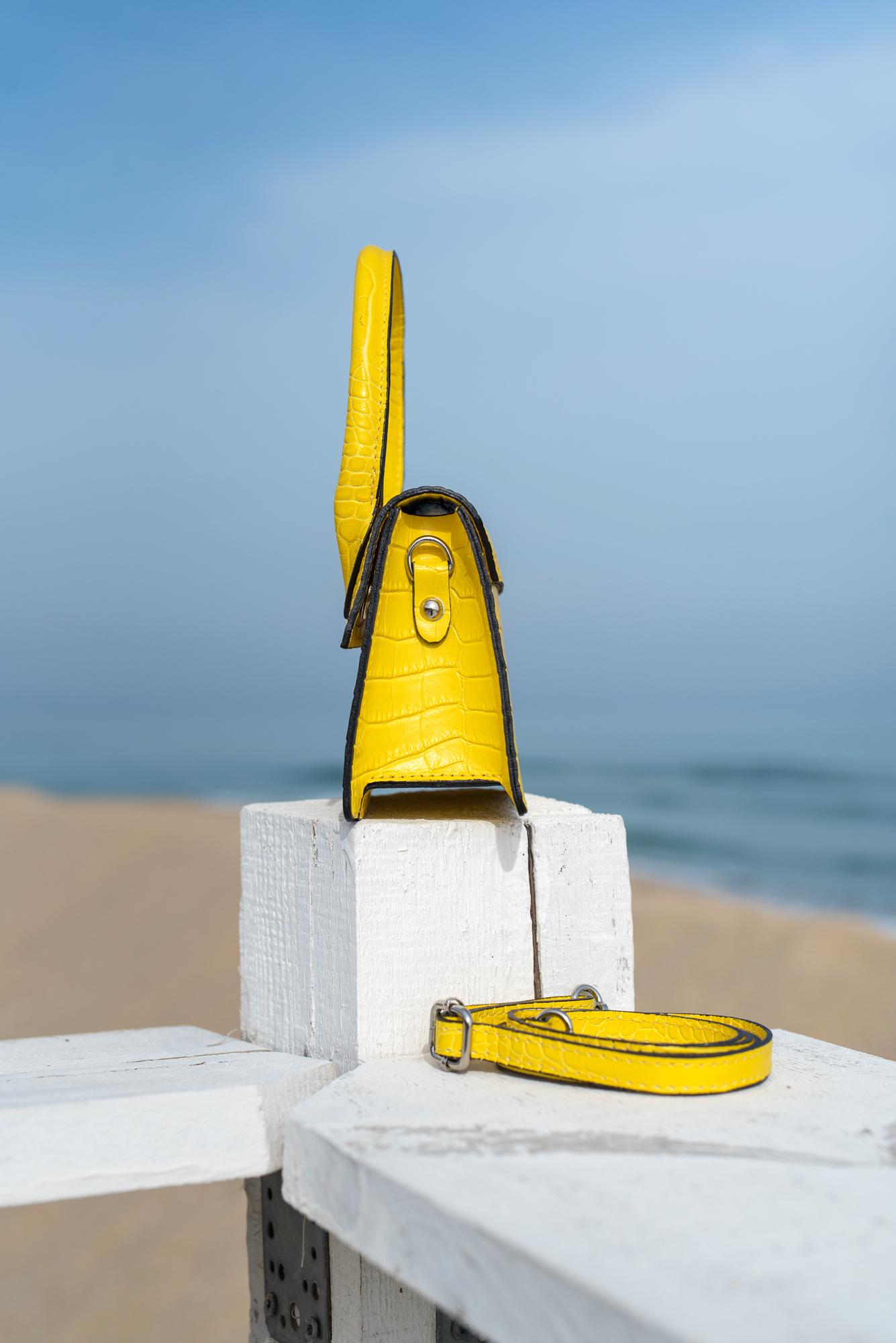 Чанта Croco жълта с дръжка - Genuine leather