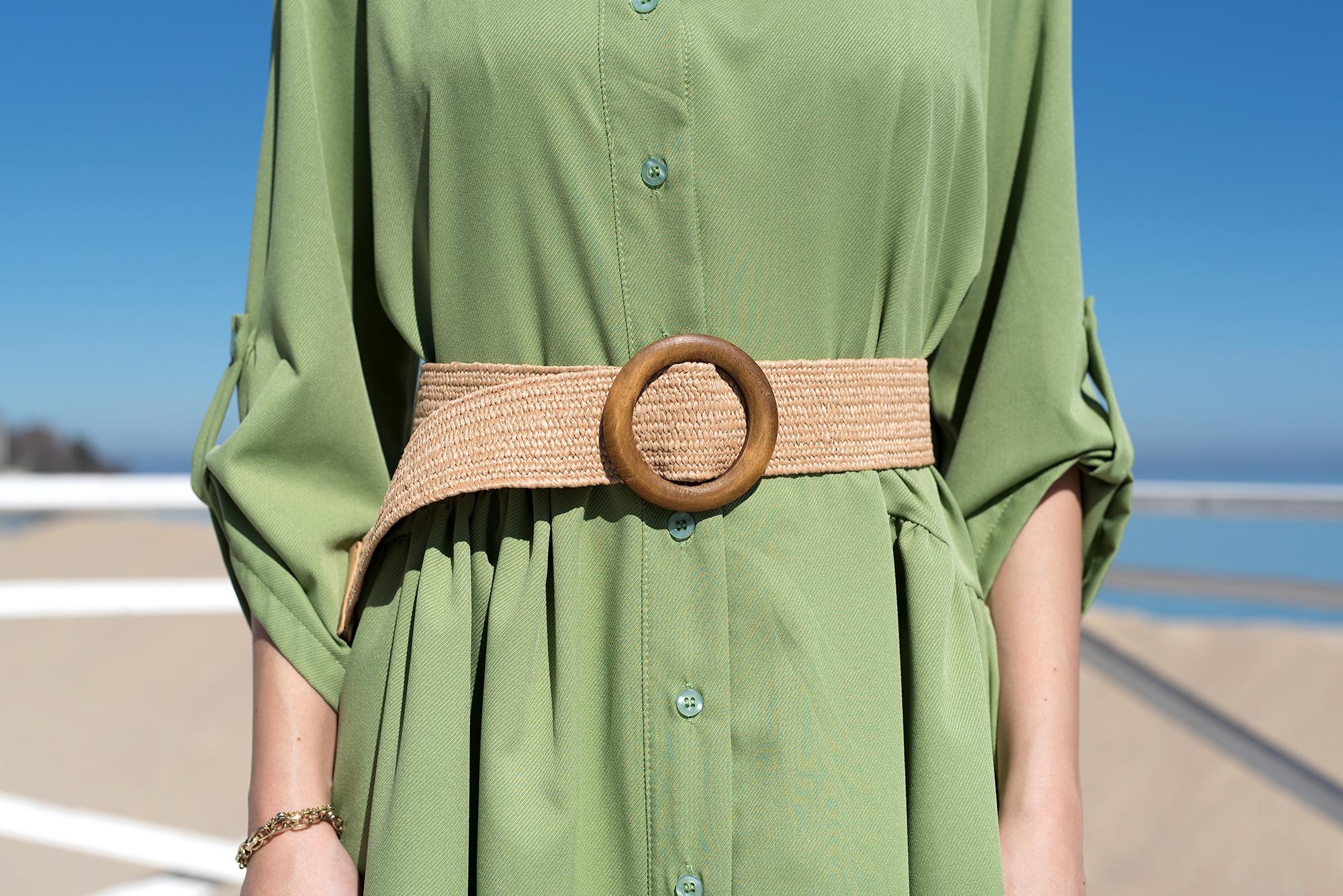 Ластичен плетен колан с дървена катарама - Brown