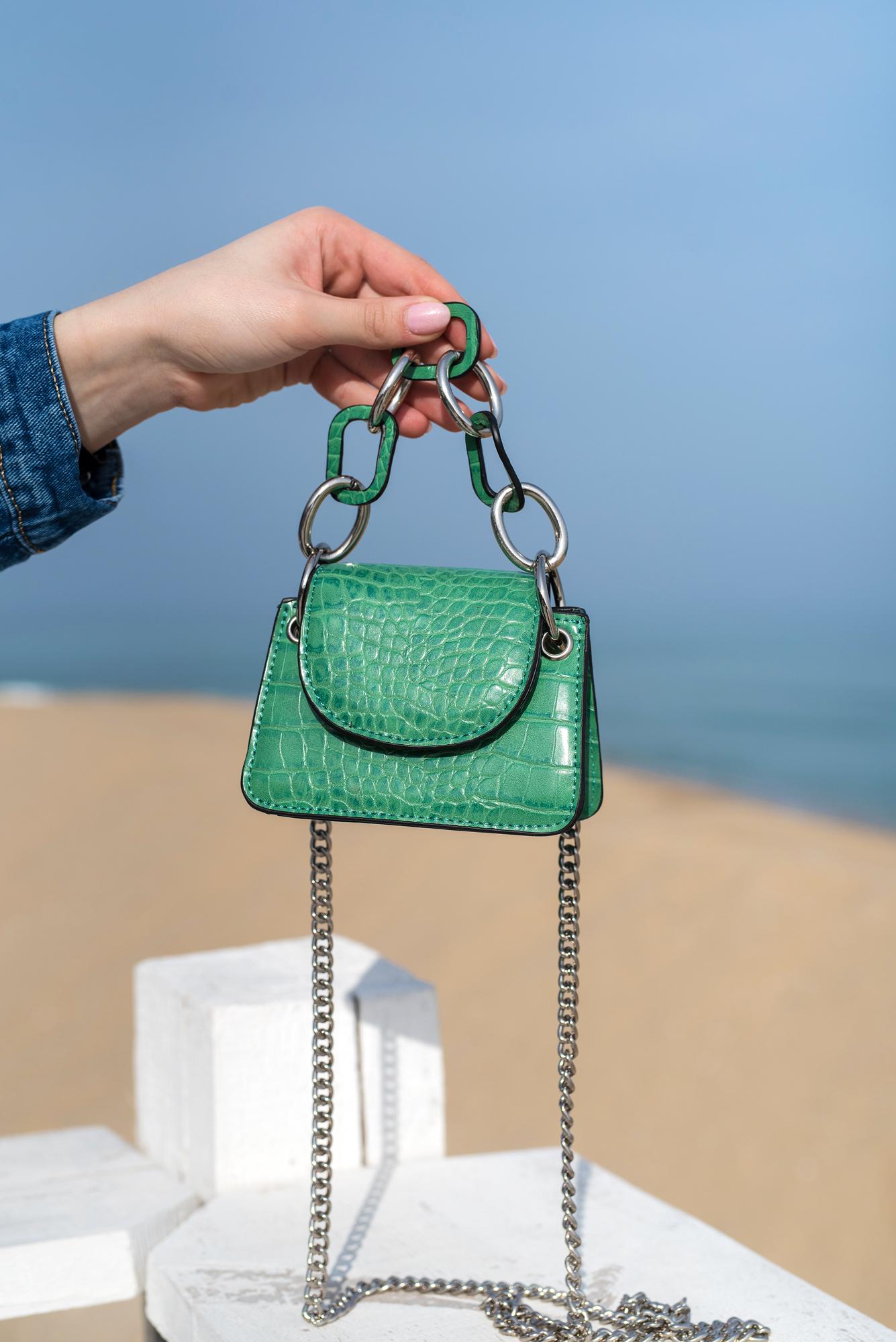 Мини чанта Croco Green