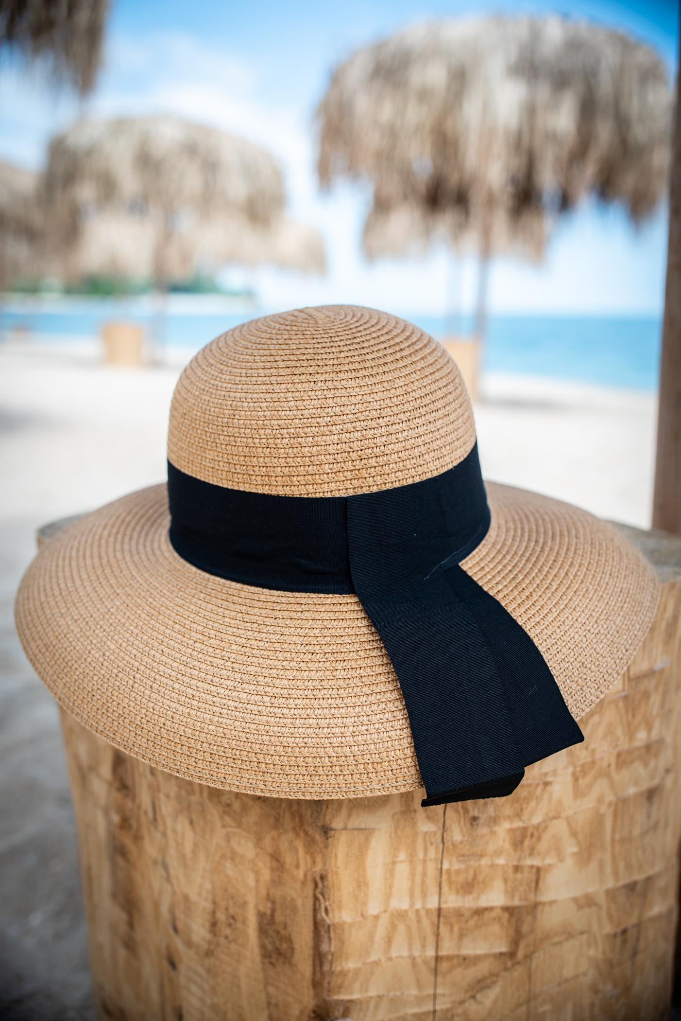 Плажна шапка Brown/Black ribbon