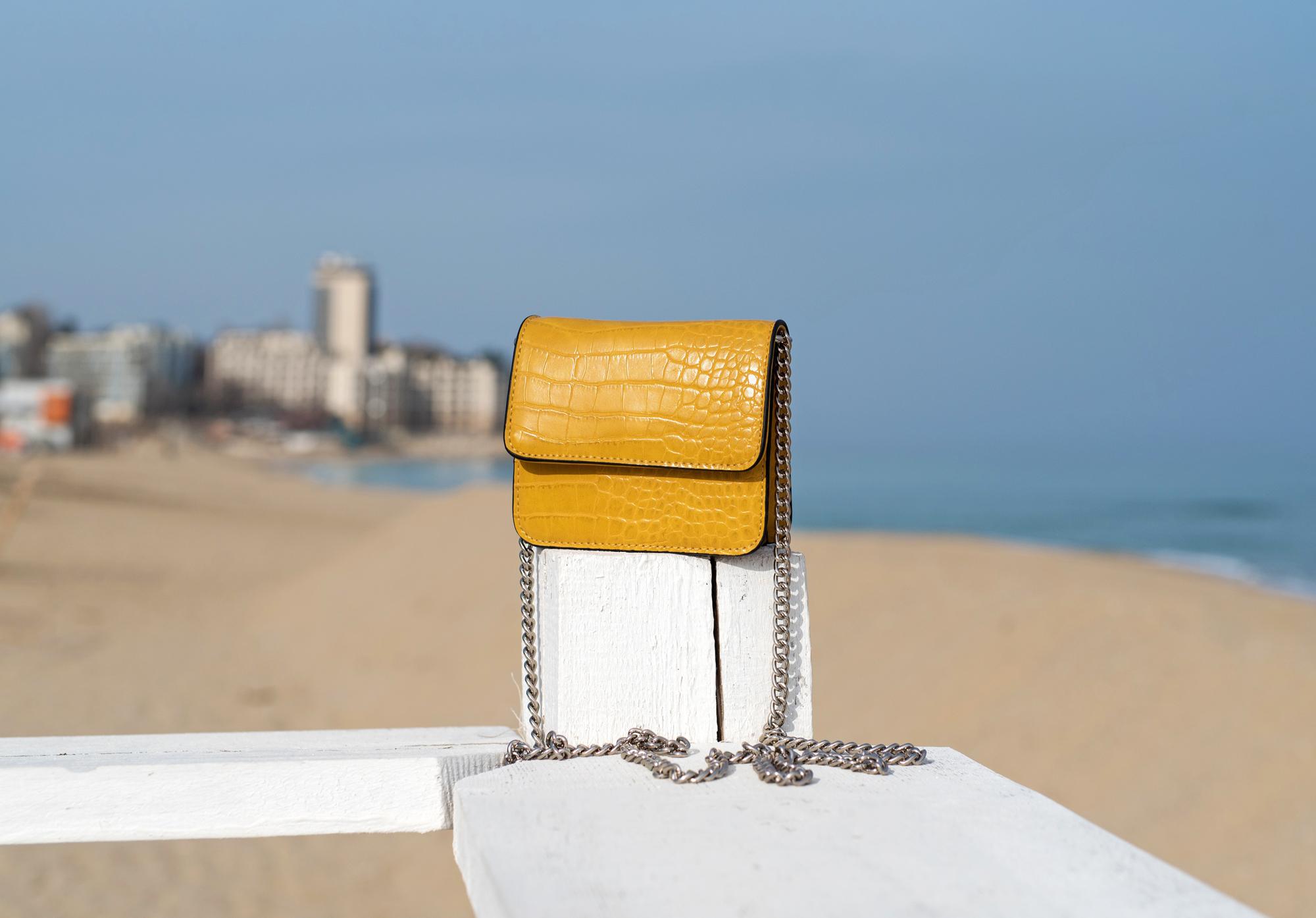 Малка чанта Croco Yellow