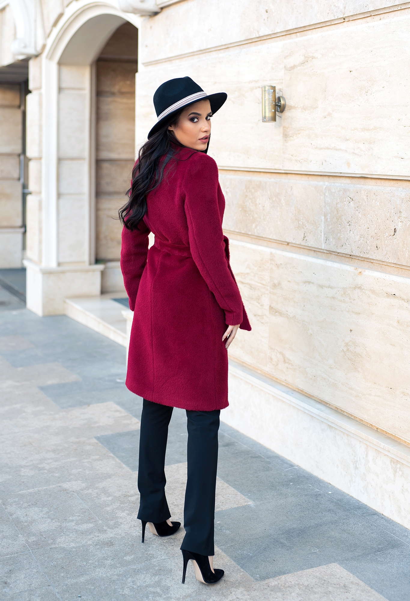 Палто Dark Red Wool
