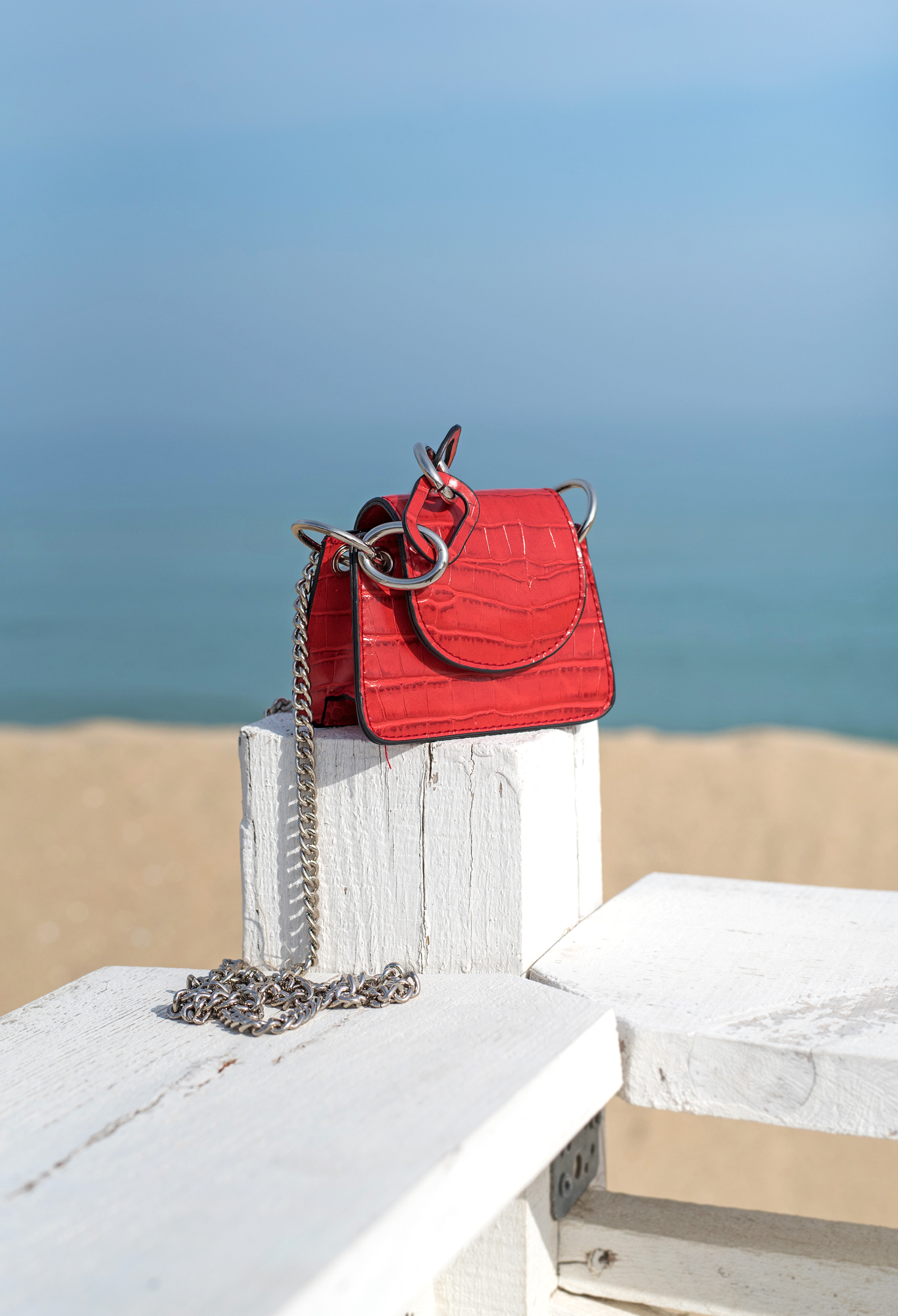 Мини чанта Croco Red